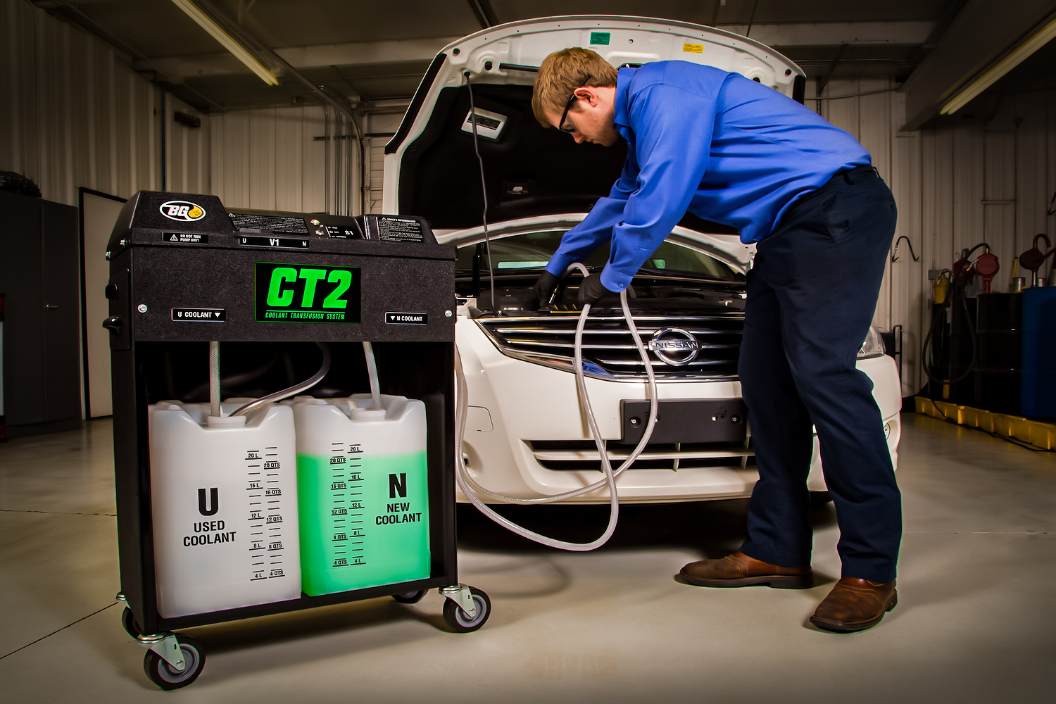 bg product coolant maintenance service being performed
